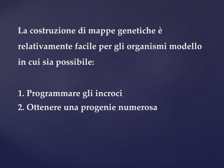 La costruzione di mappe genetiche è relativamente facile per gli organismi modello in cui sia possibile:
