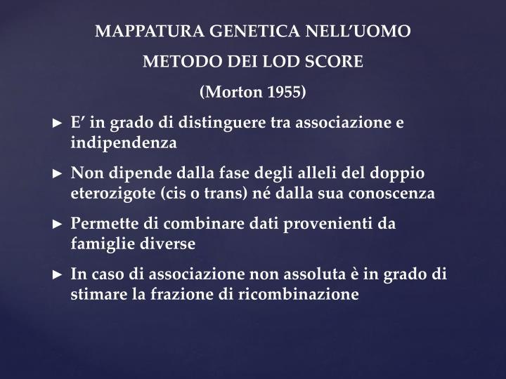 MAPPATURA GENETICA NELL'UOMO