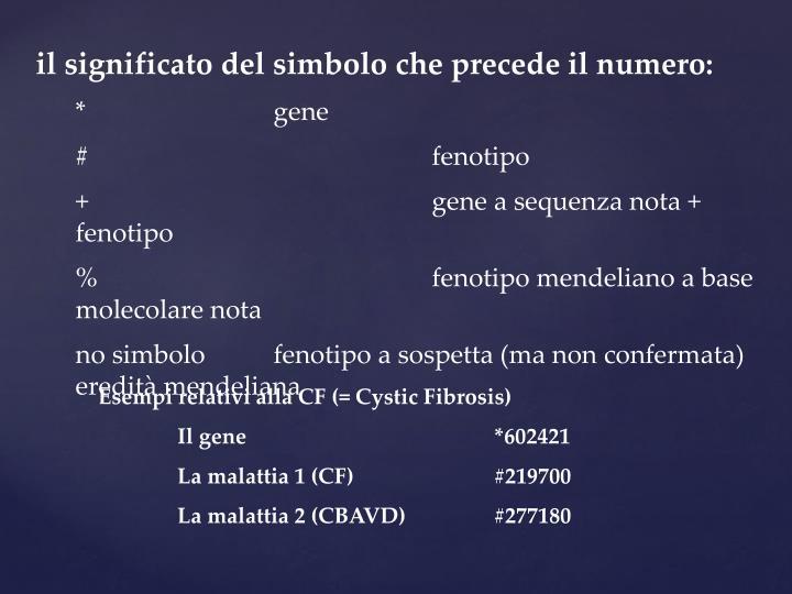 il significato del simbolo che precede il numero: