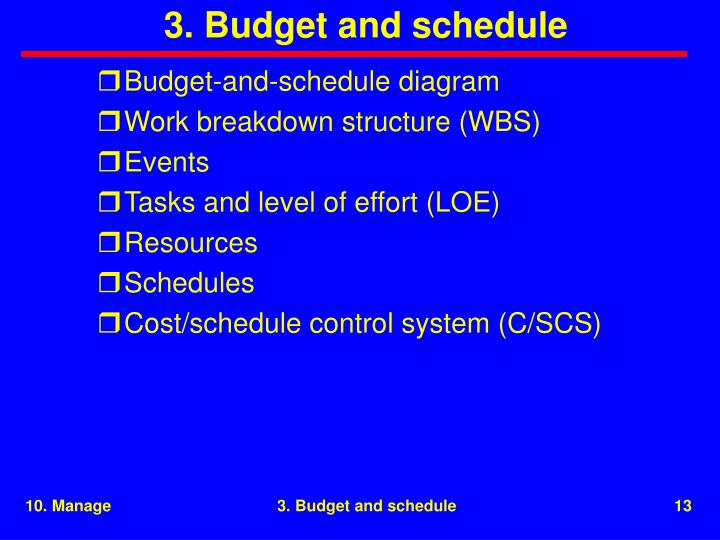 3. Budget and schedule