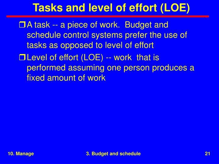 Tasks and level of effort (LOE)