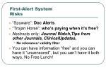 first alert system risks