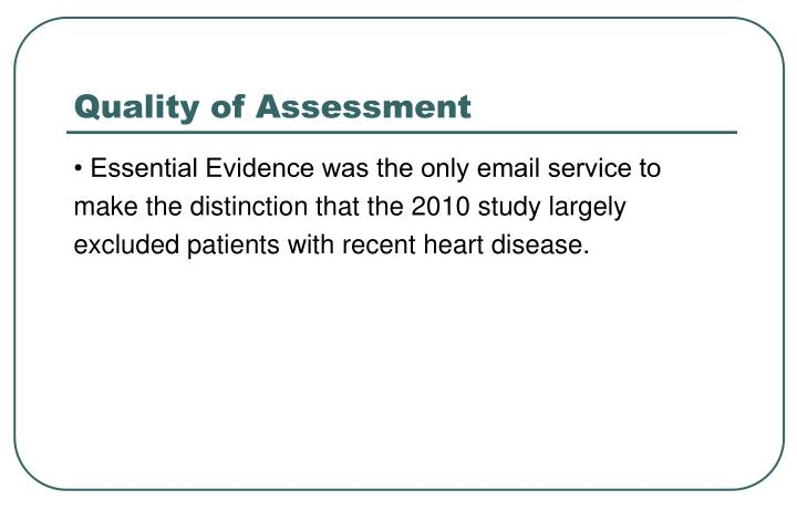Quality of Assessment
