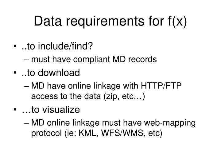 Data requirements for f(x)
