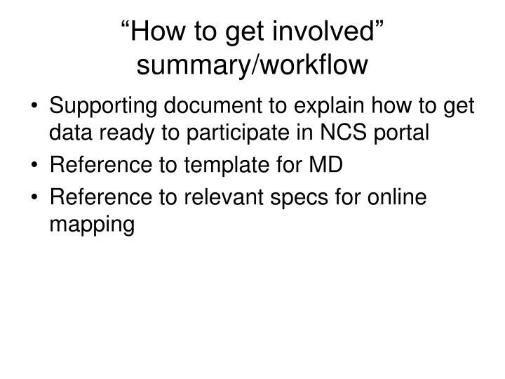 """""""How to get involved"""" summary/workflow"""