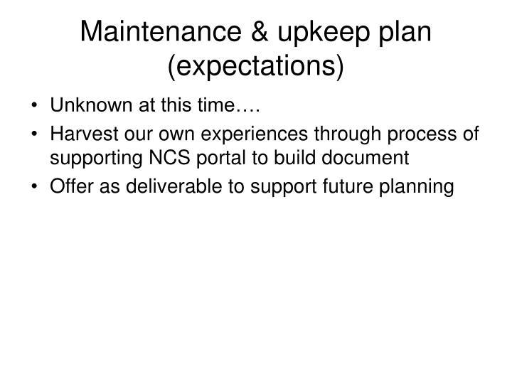 Maintenance & upkeep plan (expectations)