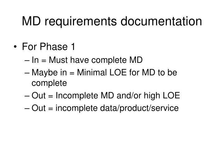MD requirements documentation