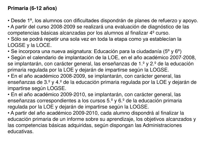 Primaria (6-12 años)
