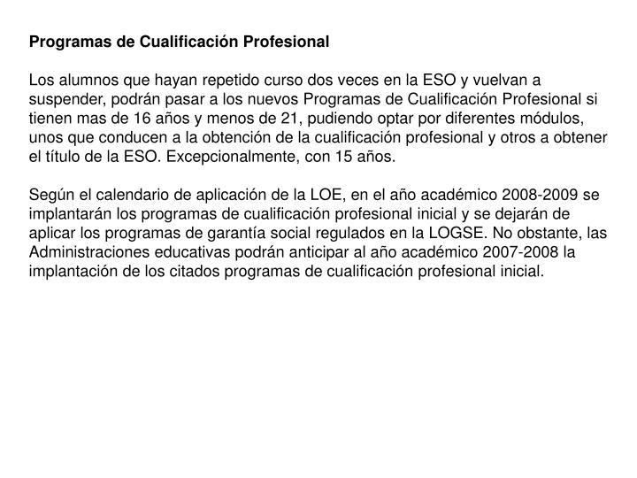 Programas de Cualificación Profesional