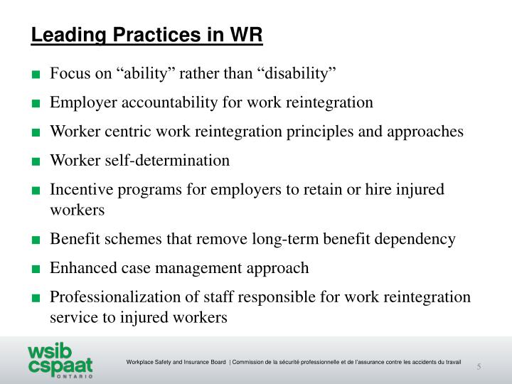 Leading Practices in WR