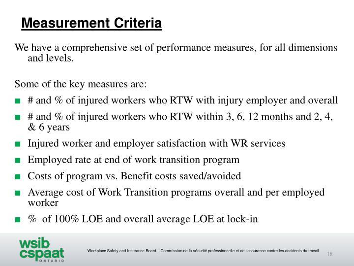 Measurement Criteria