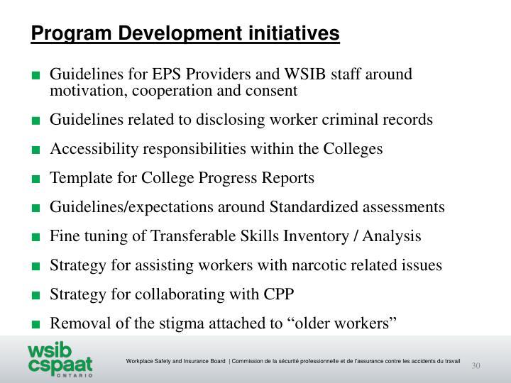 Program Development initiatives