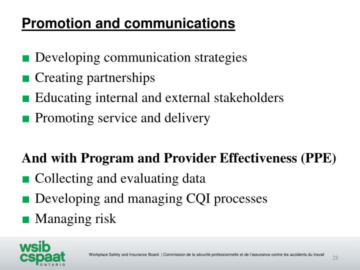 Promotion and communications