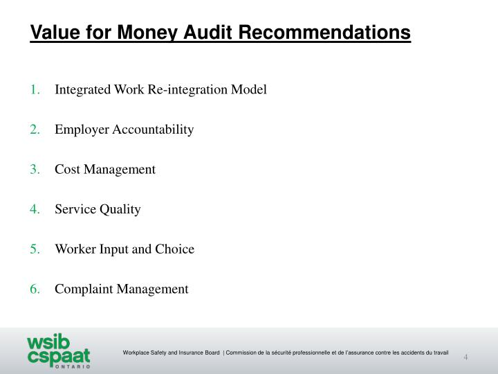 Value for Money Audit Recommendations
