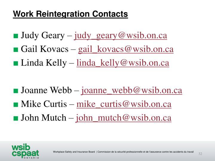 Work Reintegration Contacts