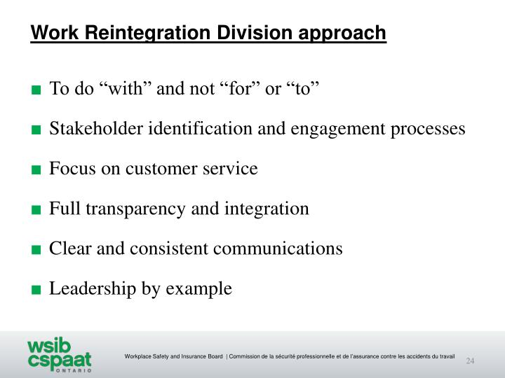Work Reintegration Division approach