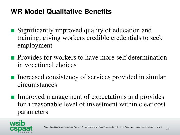 WR Model Qualitative Benefits