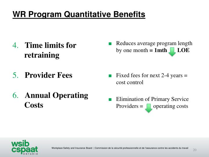 WR Program Quantitative Benefits