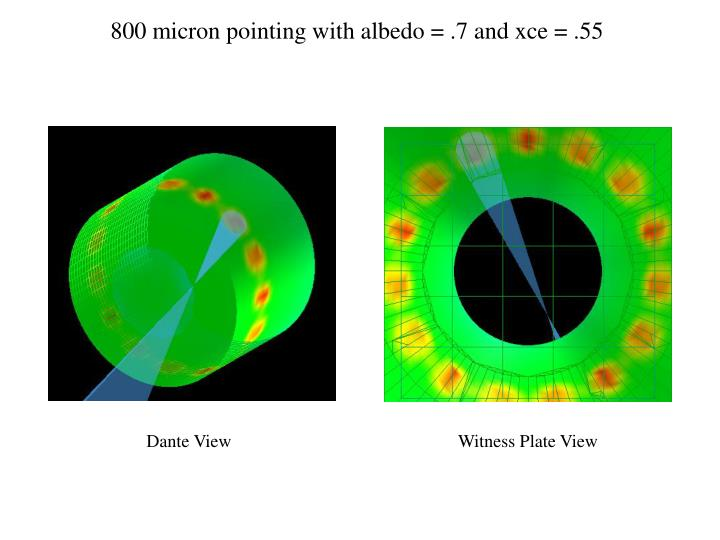 800 micron pointing with albedo = .7 and xce = .55