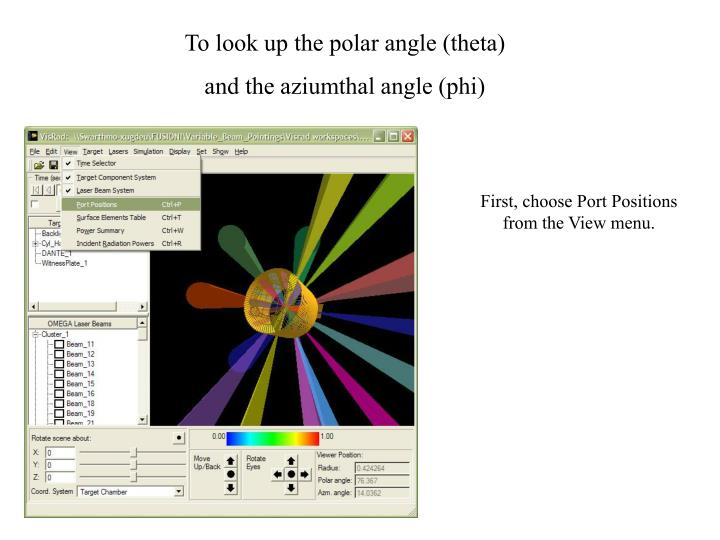 To look up the polar angle (theta)