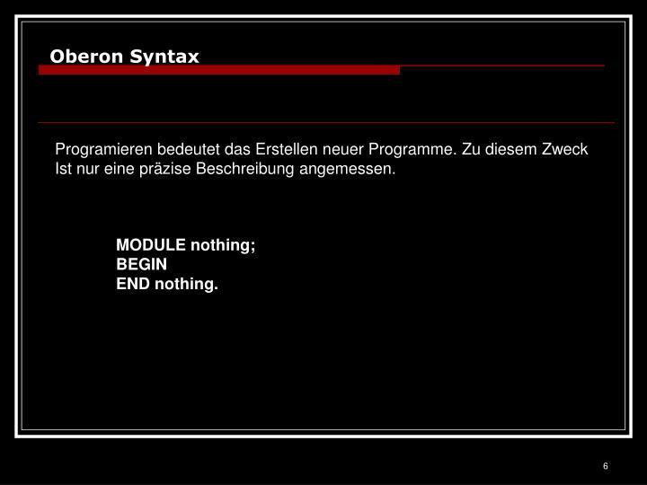 Oberon Syntax