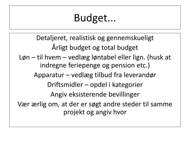 Budget...