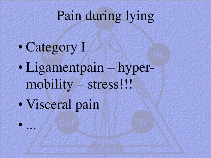 Pain during lying
