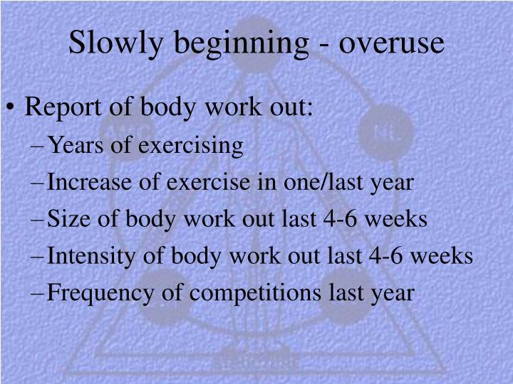 Slowly beginning - overuse