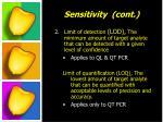 sensitivity cont