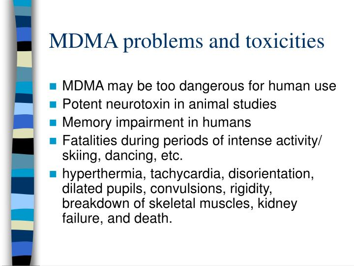 MDMA problems and toxicities