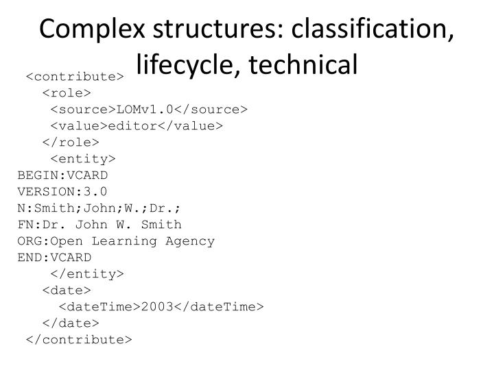 Complex structures: classification, lifecycle, technical
