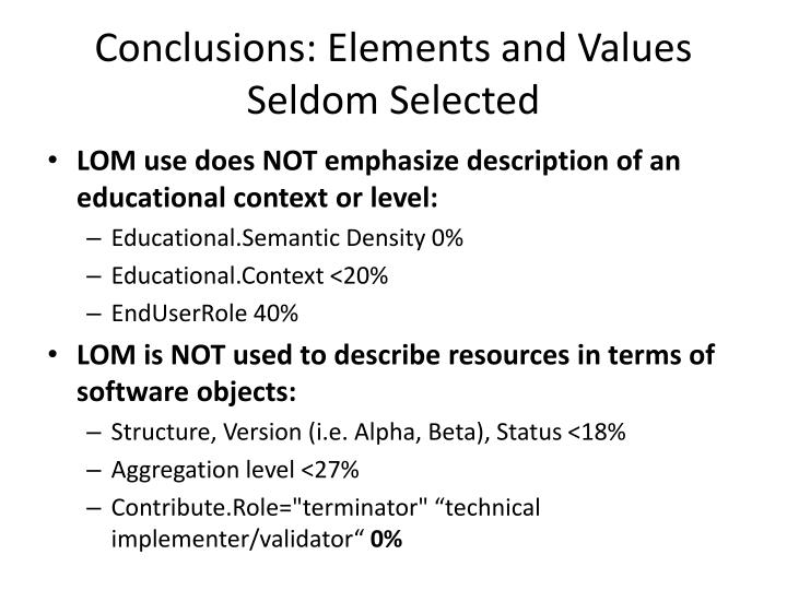 Conclusions: Elements and Values Seldom Selected