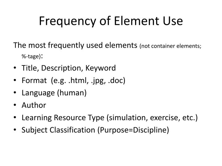 Frequency of Element Use