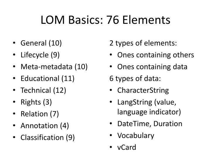LOM Basics: 76 Elements
