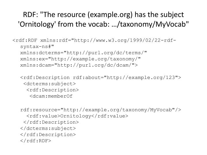 """RDF: """"The resource(example.org)has the subject 'Ornitology' from the vocab: …/taxonomy/MyVocab"""""""