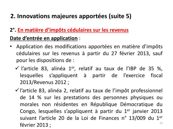 2. Innovations majeures apportées (suite 5)