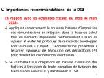 v importantes recommandations de la dgi1