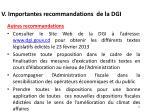 v importantes recommandations de la dgi3
