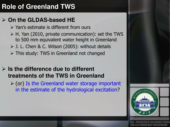Role of Greenland TWS