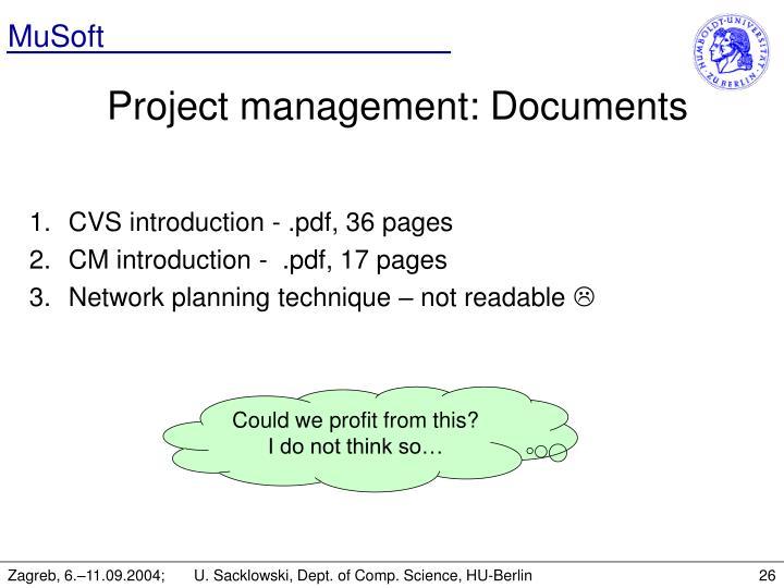Project management: Documents