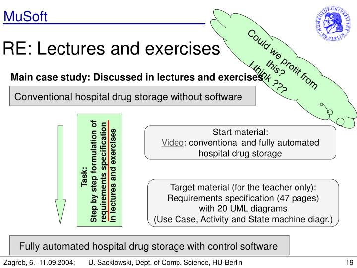 Main case study: Discussed in lectures and exercises