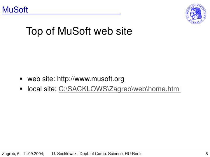 Top of MuSoft web site