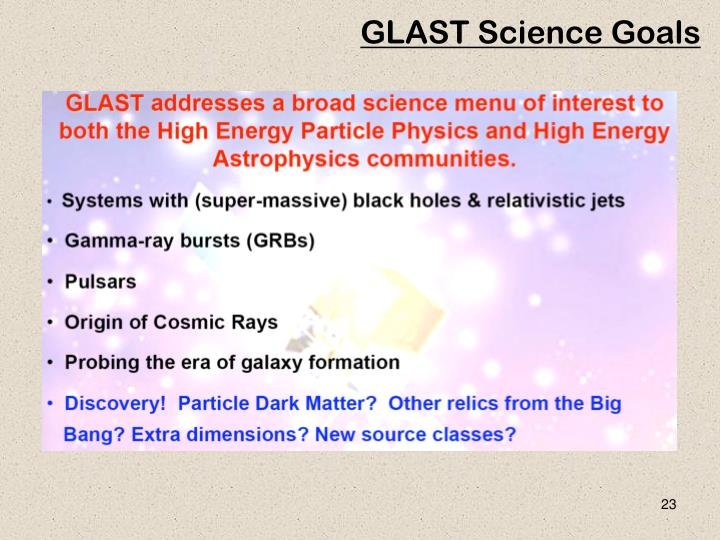 GLAST Science Goals