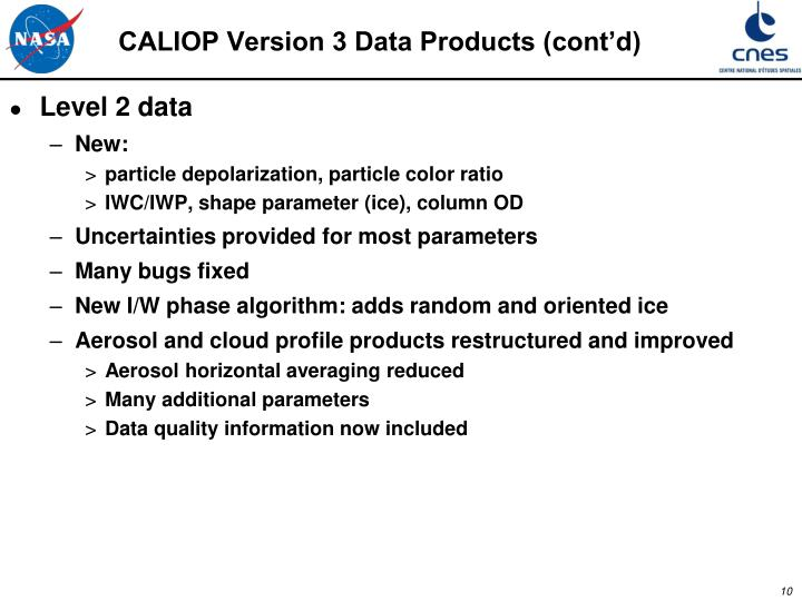 CALIOP Version 3 Data Products (cont'd)