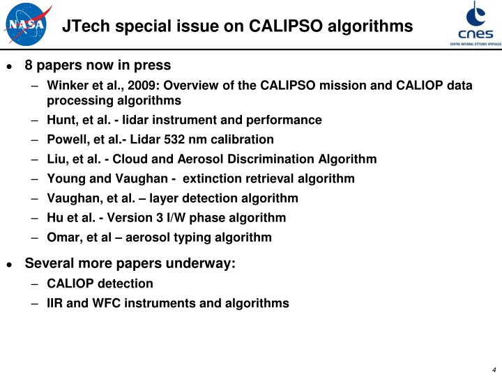 JTech special issue on CALIPSO algorithms