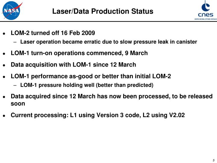 Laser/Data Production Status