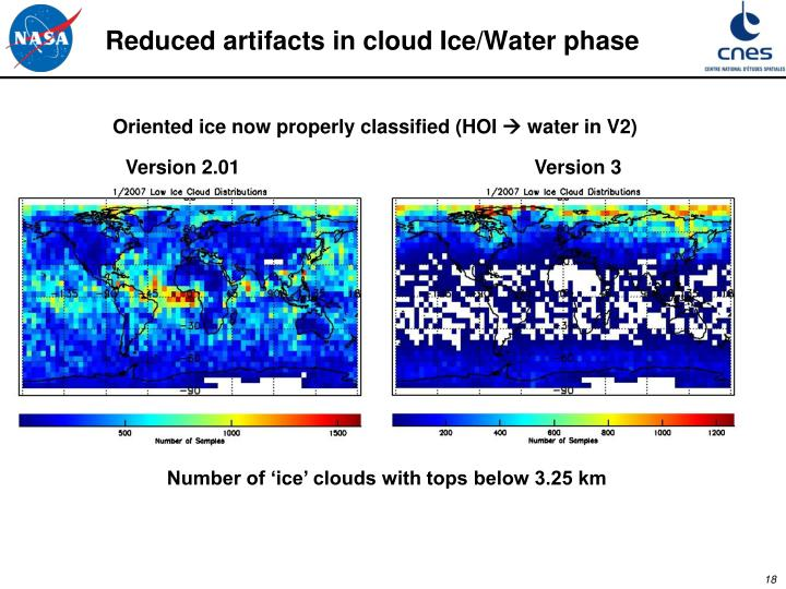Reduced artifacts in cloud Ice/Water phase