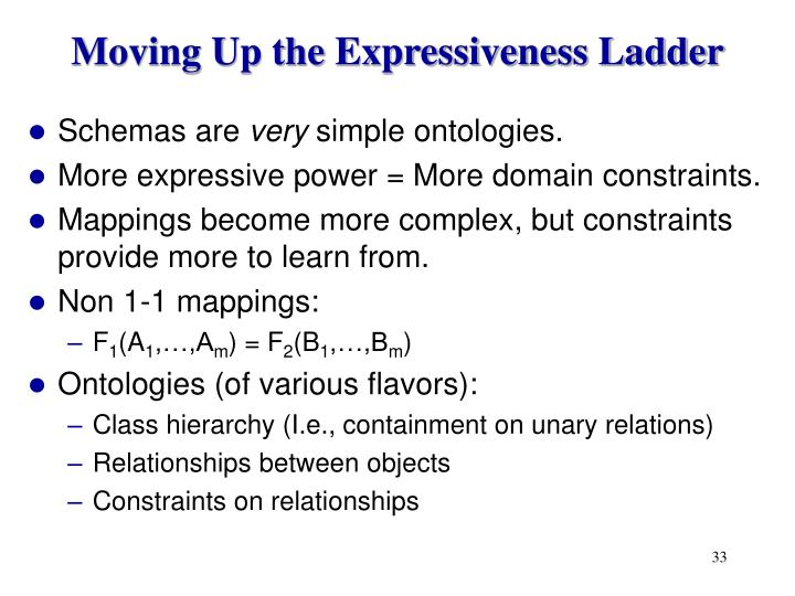 Moving Up the Expressiveness Ladder