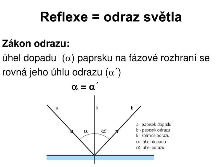 Reflexe = odraz světla