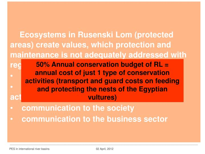 Ecosystems in Rusenski Lom (protected areas) create values, which protection and maintenance is not adequately addressed with regard to: